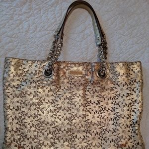 Rare Kate Spade Gold Leather Cutout Flower Tote 🌼